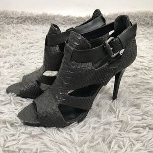 snake Skin embossed peep ankle Black Buckle 9